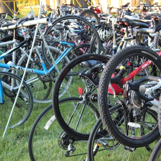 many bicycles parked together